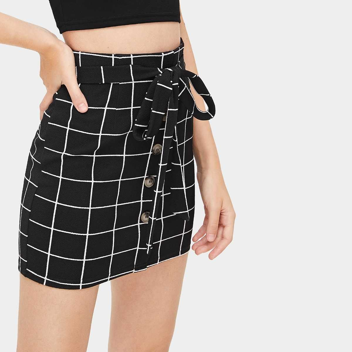 Button Front Grid Belted Skirt in Black and White by ROMWE on GOOFASH