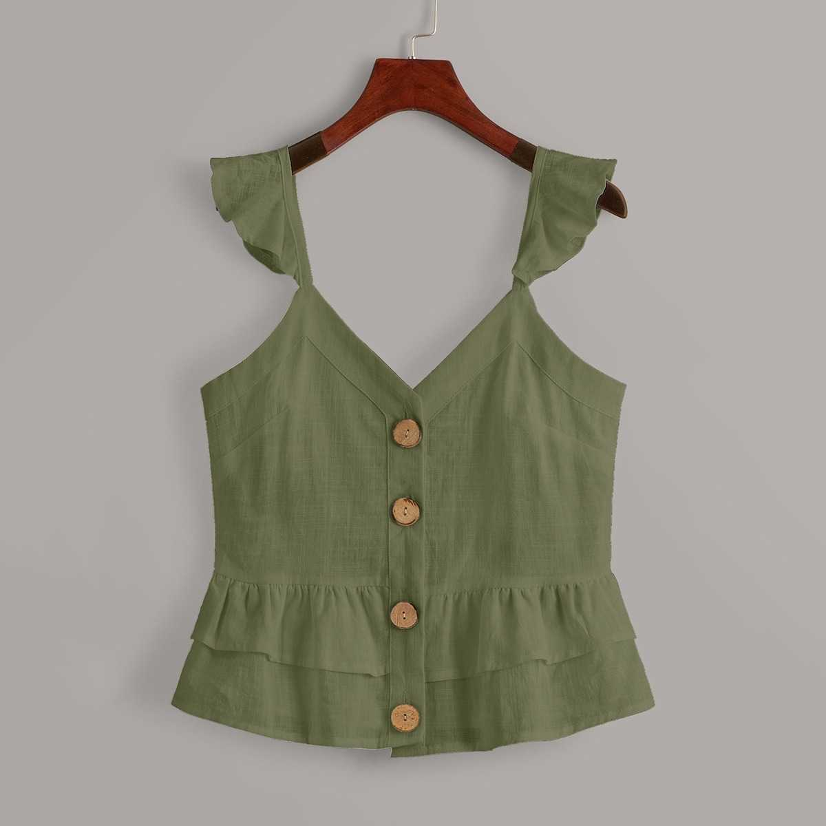 Button Front Ruffle Hem Cami Top in Army Green by ROMWE on GOOFASH