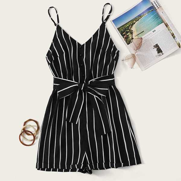 Button Front Striped Belted Romper in Black by ROMWE on GOOFASH