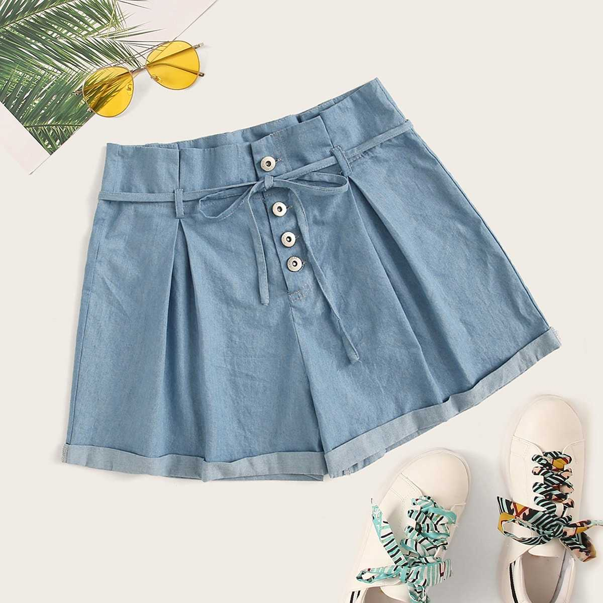 Button Front Tie Waist Denim Shorts in Blue by ROMWE on GOOFASH
