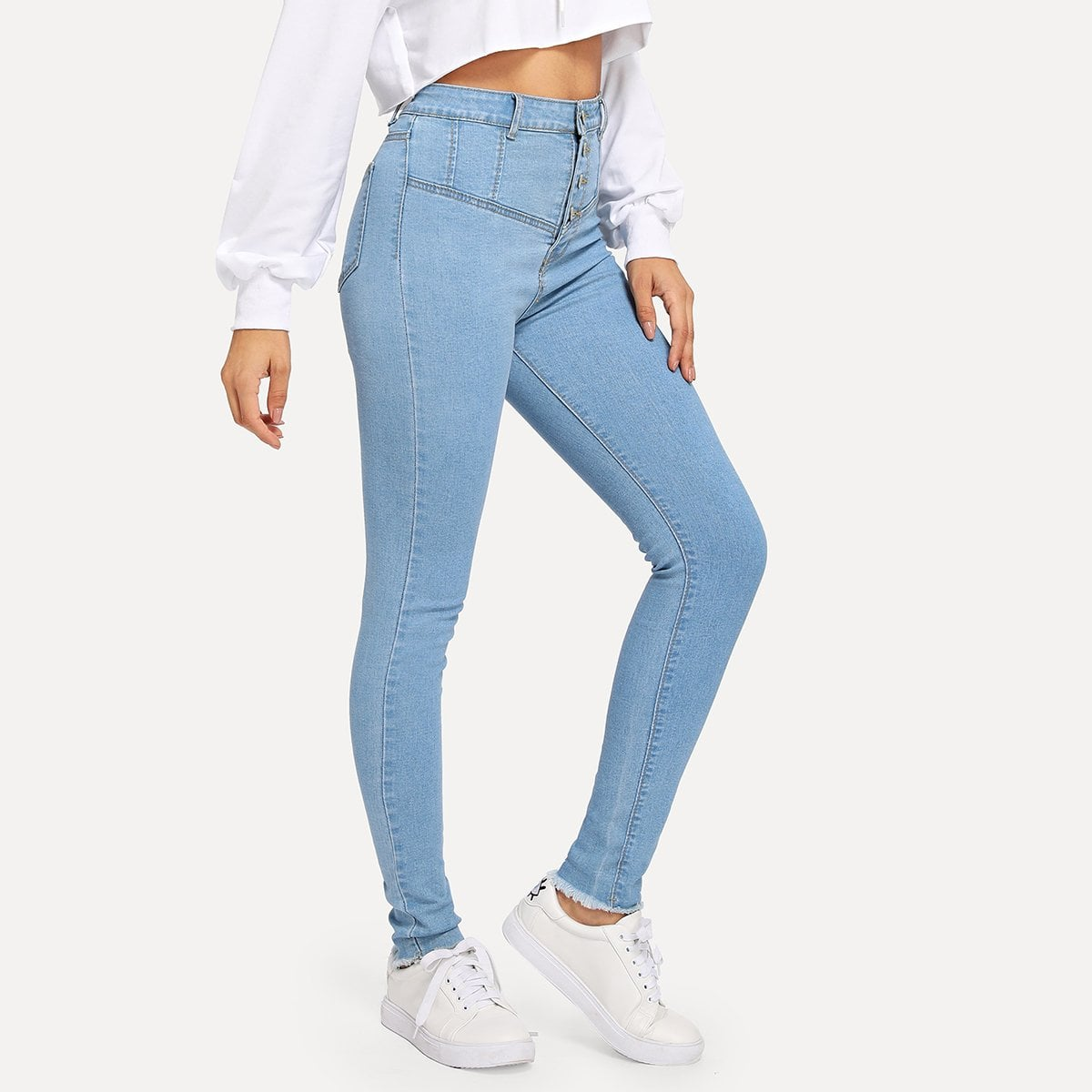 Button Front Washed Jeans in Blue by ROMWE on GOOFASH