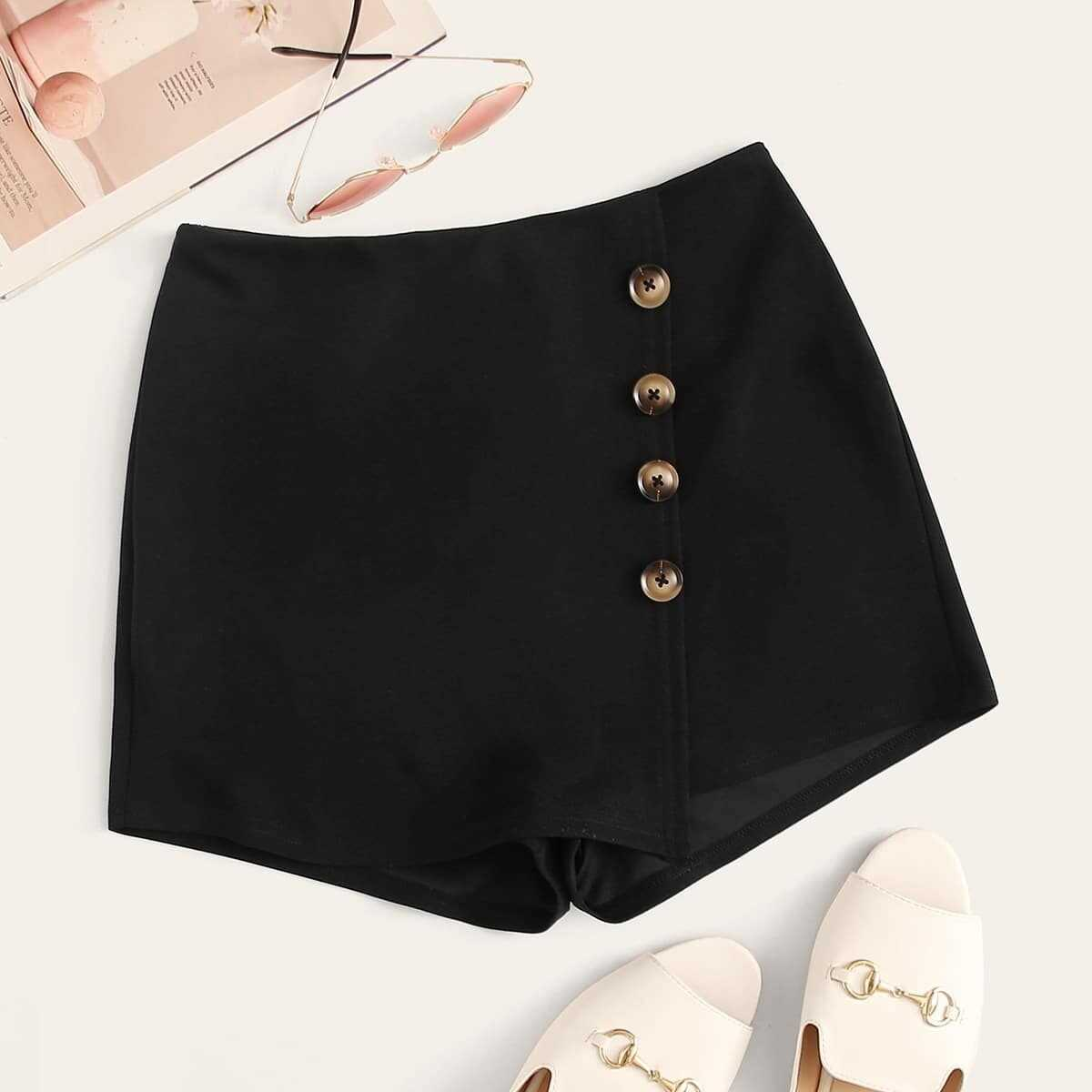 Button Front Zip Back Shorts in Black by ROMWE on GOOFASH