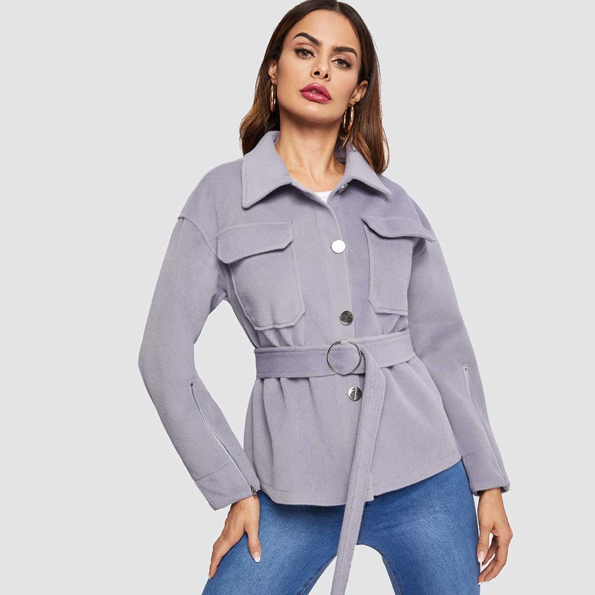 Button Up Flap Pocket Utility Coat in Purple by ROMWE on GOOFASH
