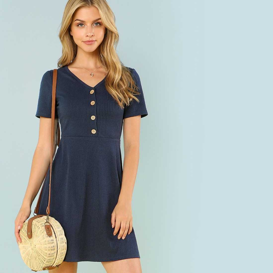 Button Up Rib Knit Dress in Navy by ROMWE on GOOFASH