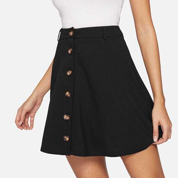 Button Up Solid A-Line Skirt in Black by ROMWE on GOOFASH