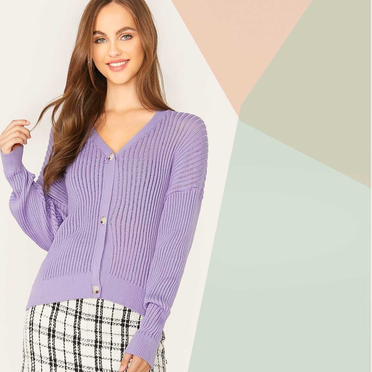 Buttoned Placket Drop Shoulder Cardigan in Purple by ROMWE on GOOFASH
