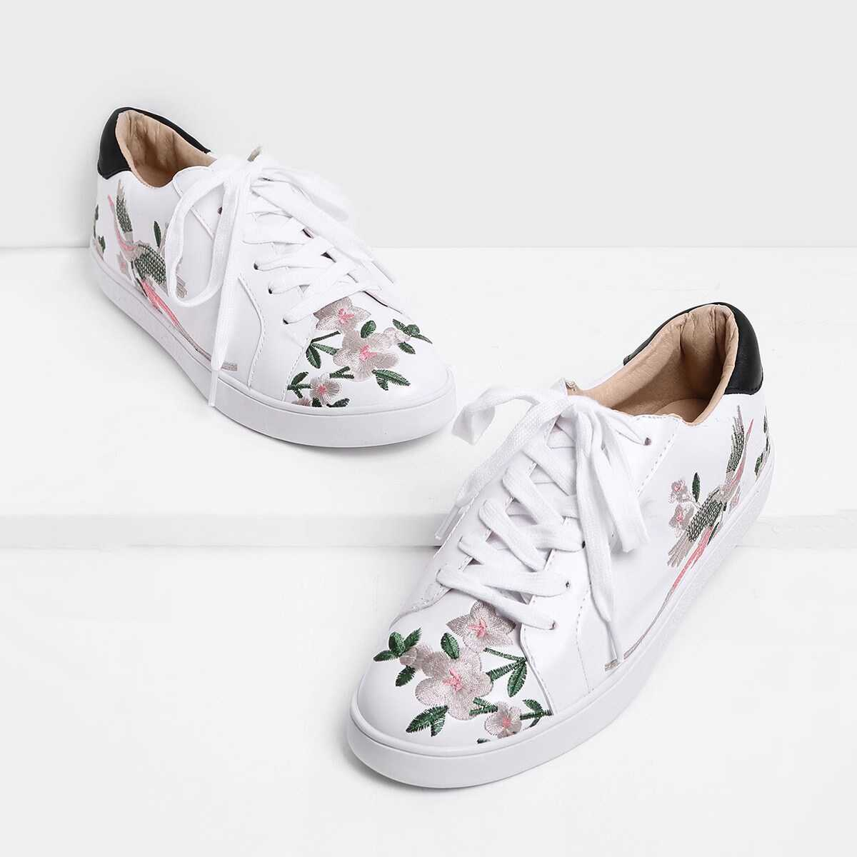 Calico Embroidered Lace Up Sneakers - Shein - GOOFASH
