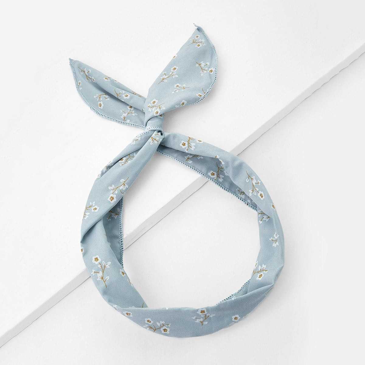 Calico Print Knot Headband in Blue by ROMWE on GOOFASH