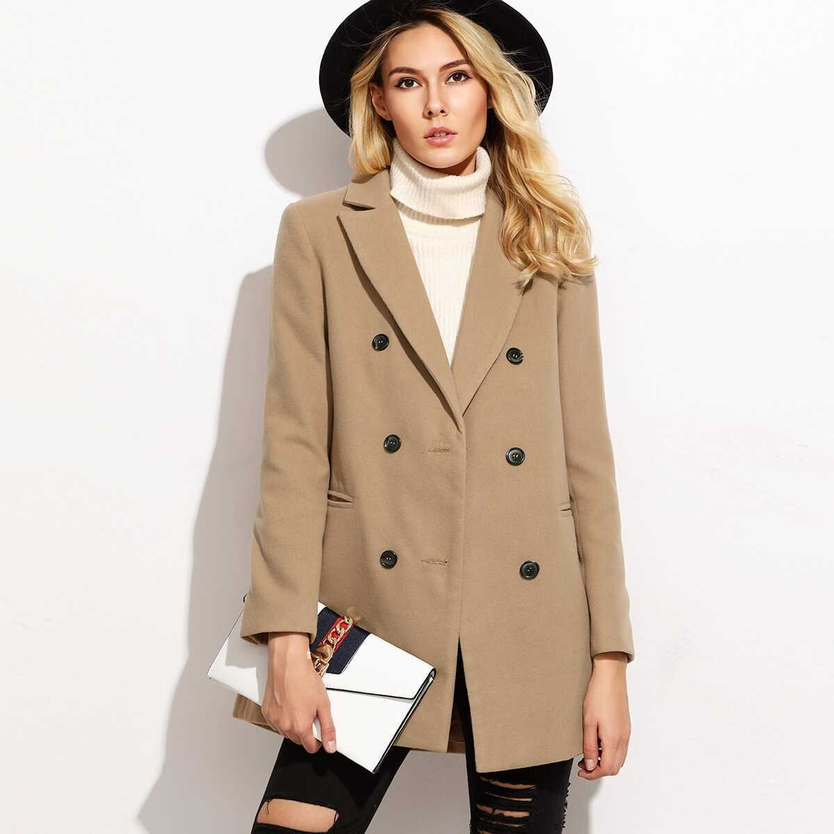 Camel Double Breasted Coat With Welt Pocket in Camel by ROMWE on GOOFASH