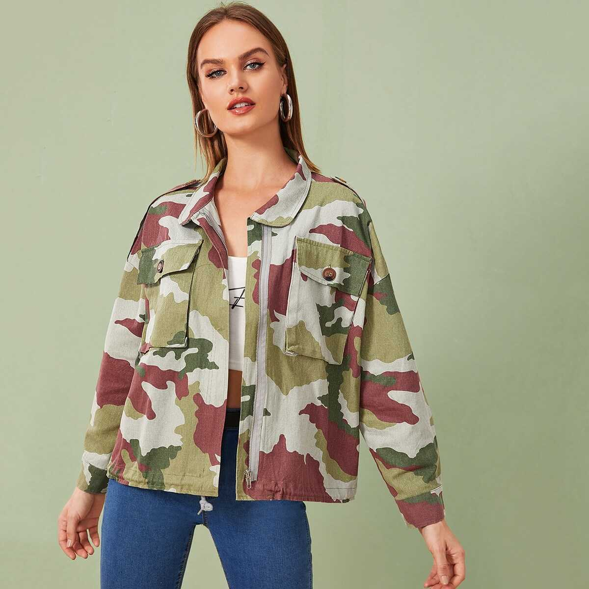 Camo Flap Pockets Cargo Coat in Multicolor by ROMWE on GOOFASH