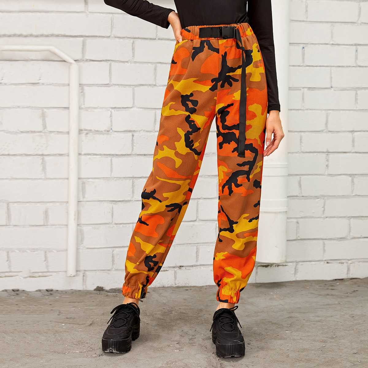 Camo Print Bulker Belted Cargo Pants in Multicolor by ROMWE on GOOFASH