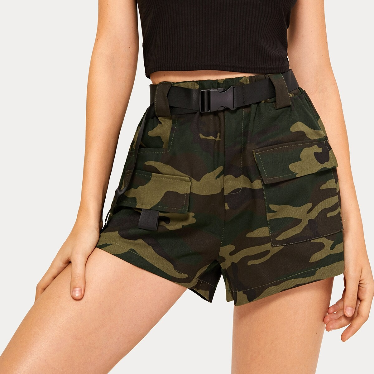 Camo Print Dual Pocket Belted Utility Shorts in Army Green by ROMWE on GOOFASH