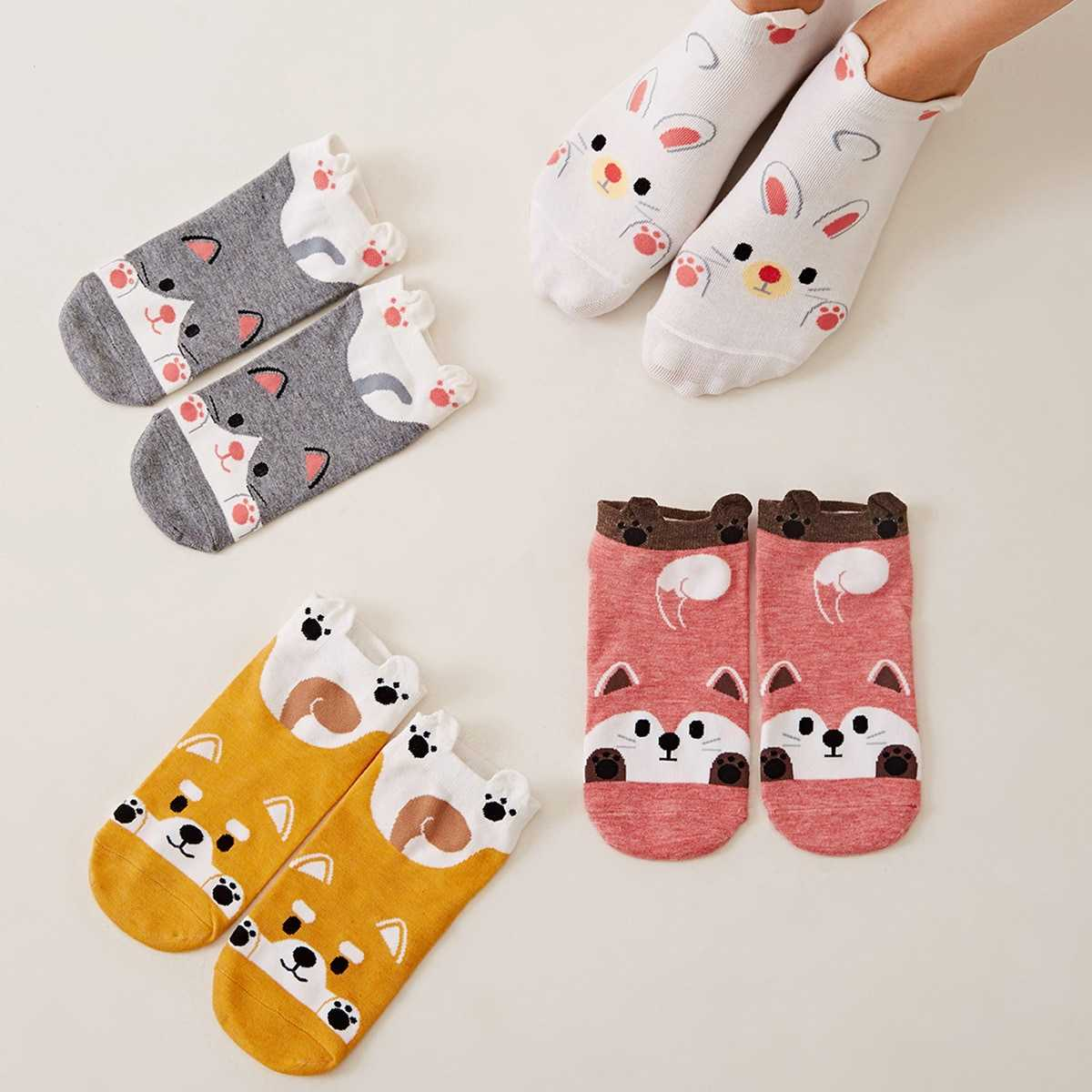 Cartoon Pattern Ankle Socks 4pairs in Multicolor by ROMWE on GOOFASH