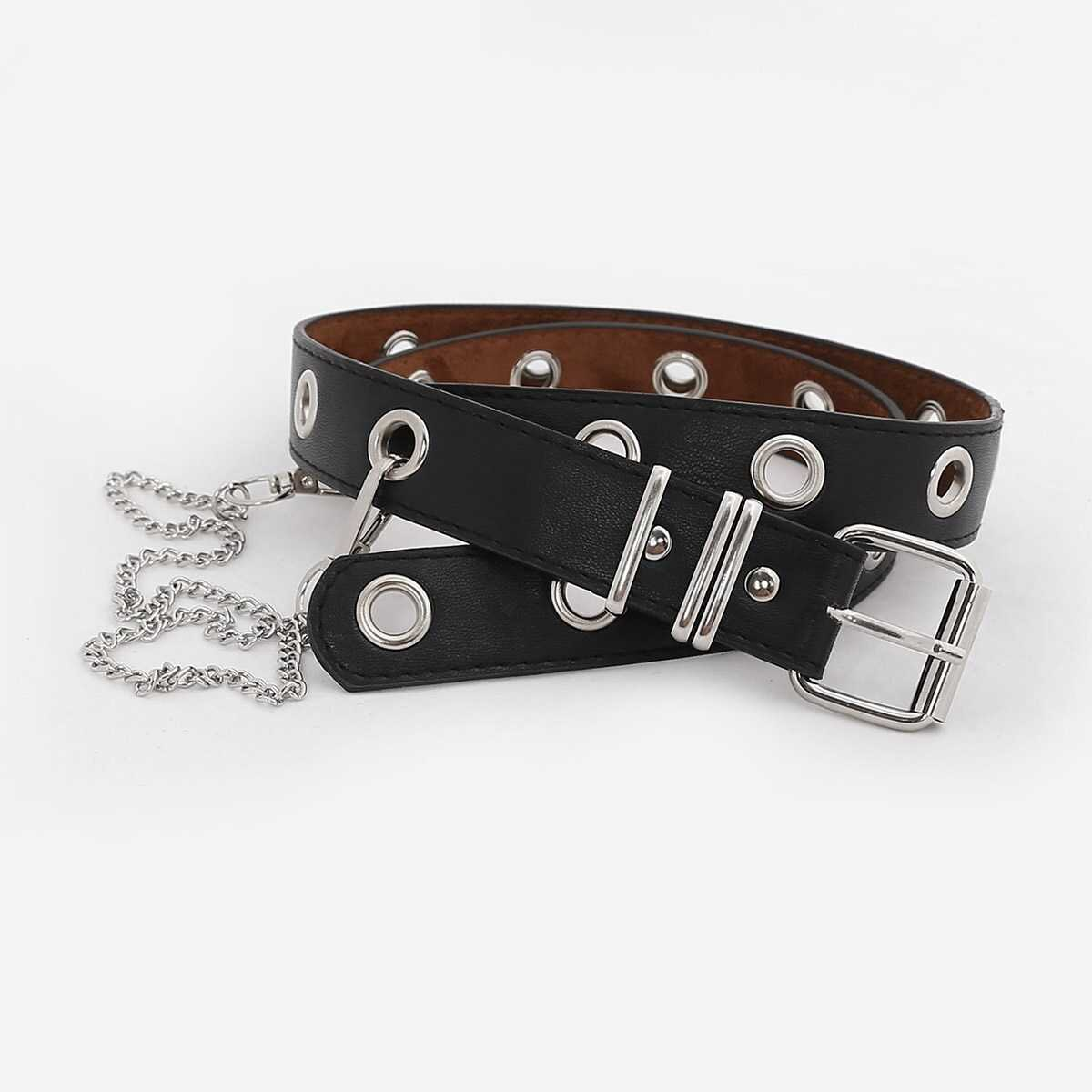 Chain Charm Eyelet Belt in Black by ROMWE on GOOFASH