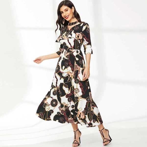 Chain Print Choker Neck Flounce Sleeve Dress - Shein - GOOFASH