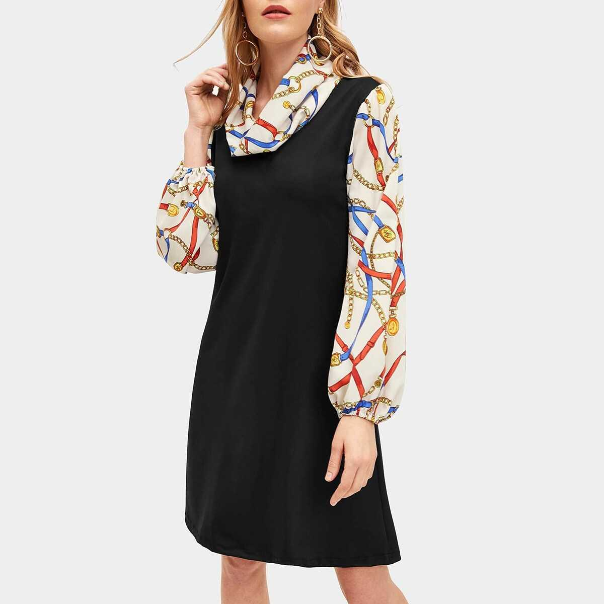 Chain Print Panel Cowl Neck Dress - Shein - GOOFASH