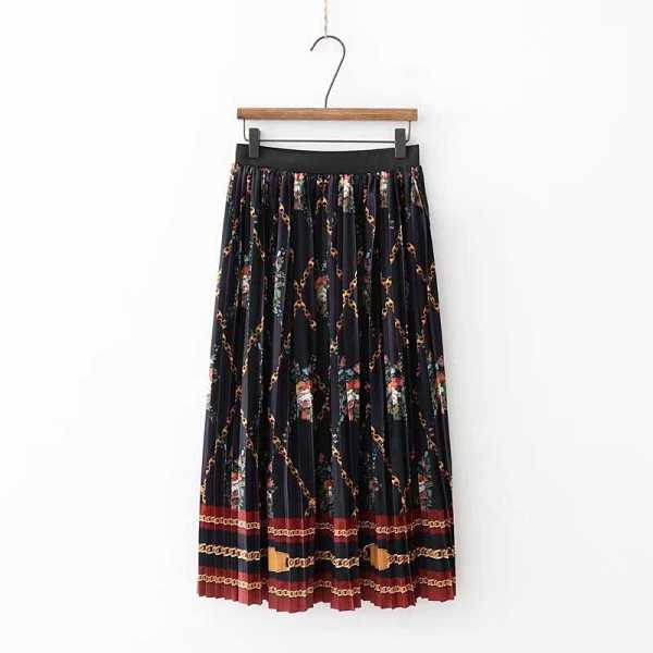 Chain Print Pleated Satin Skirt - Shein - GOOFASH