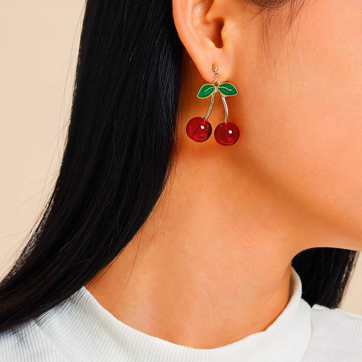 Cherry Decor Drop Earrings 1pair in Multicolor by ROMWE on GOOFASH