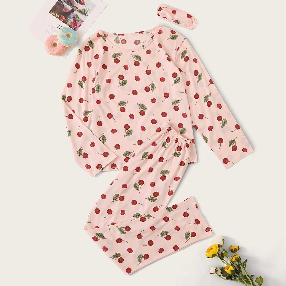 Cherry Print Pajama Set With Eye Mask in Pink by ROMWE on GOOFASH