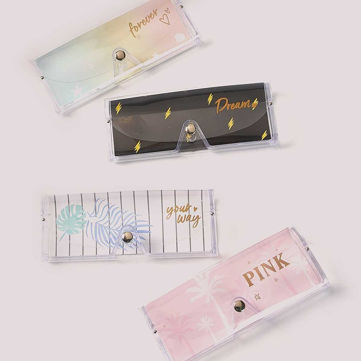 Clear Letter Print Glasses Case 1pc in White by ROMWE on GOOFASH