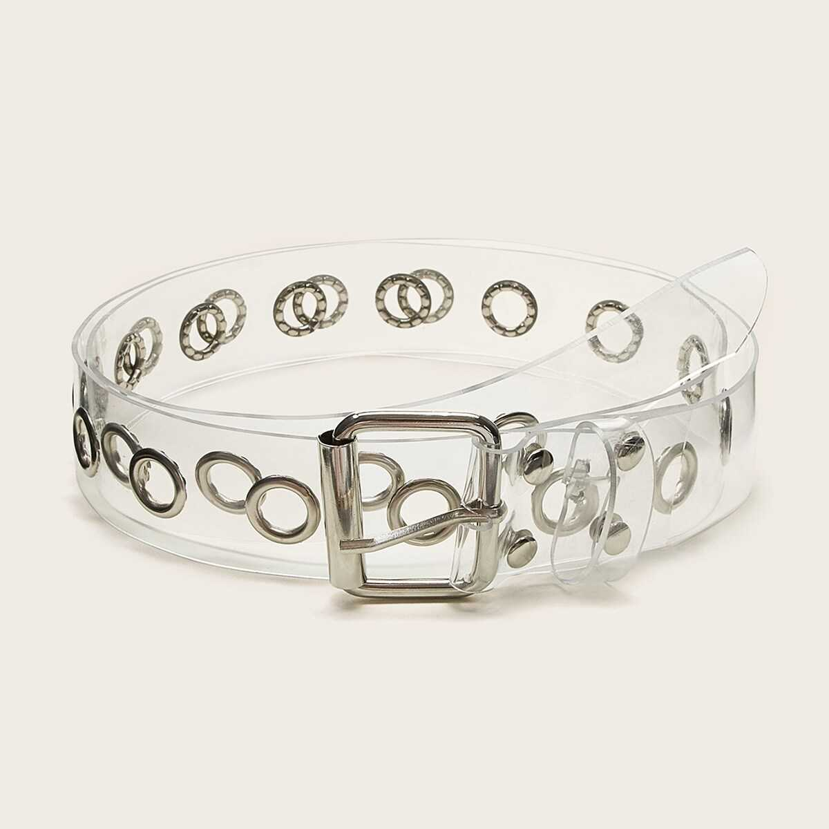 Clear Square Shaped Buckle Belt 1pc in Silver by ROMWE on GOOFASH