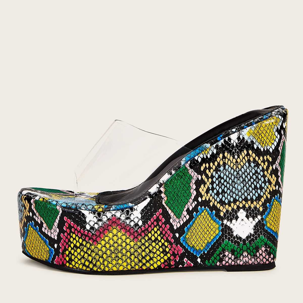 Clear Strap Snakeskin Print Wedges in Multicolor by ROMWE on GOOFASH