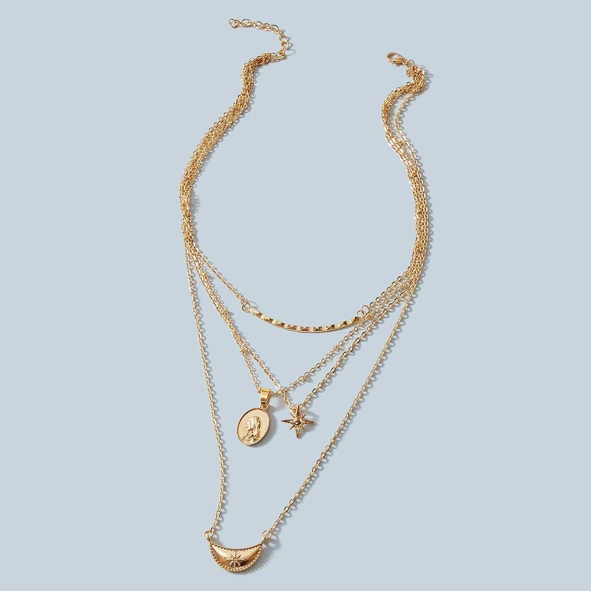 Coin & Star Charm Layered Necklace 1pc in Gold by ROMWE on GOOFASH