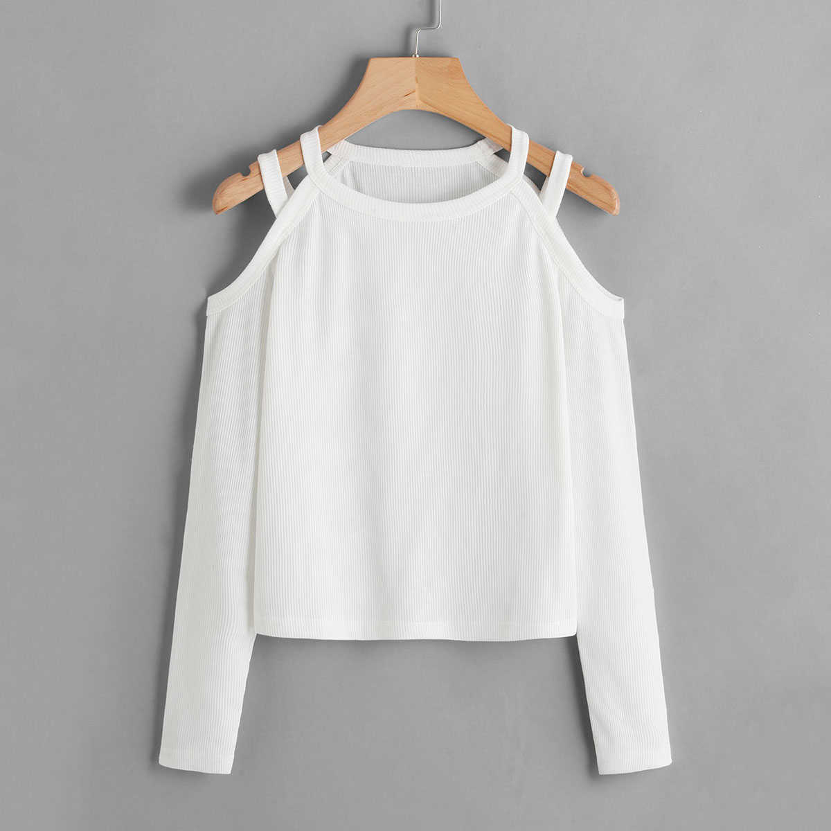 Cold Shoulder Ribbed Tee in White by ROMWE on GOOFASH