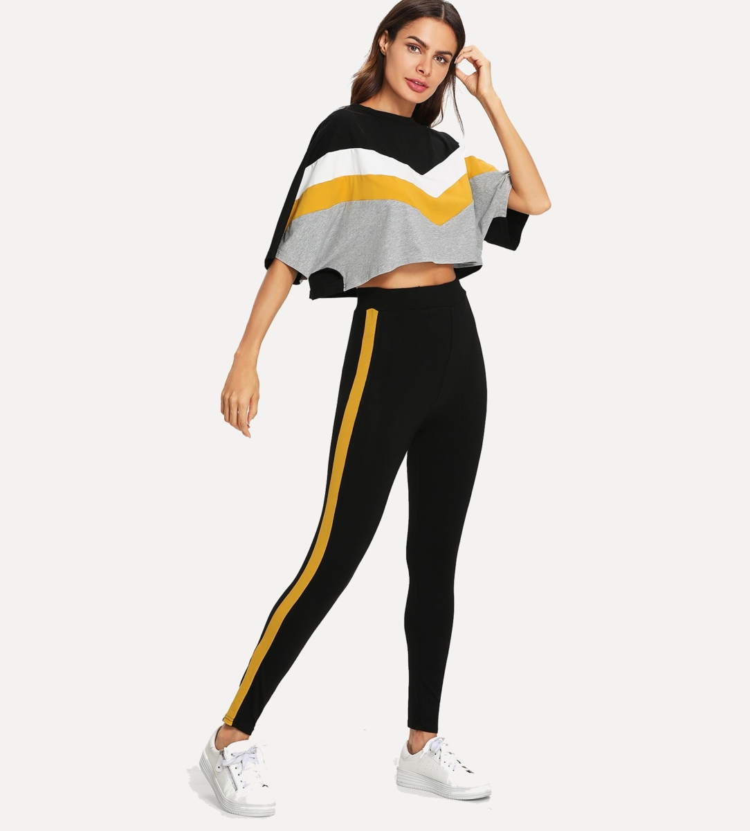 Color Block Batwing Sleeve Top & Pants Co-Ord - Shein - GOOFASH
