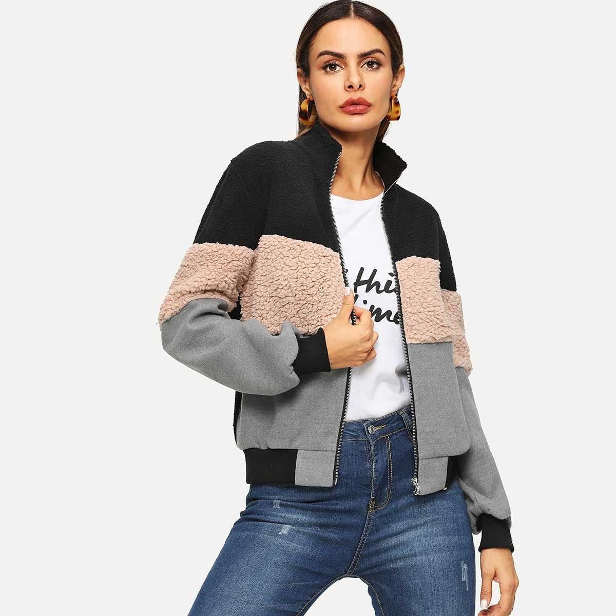 Color Block Mixed Media Teddy Jacket in Multicolor by ROMWE on GOOFASH
