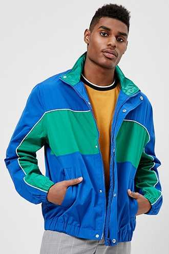 Colorblock Hysteria Graphic Jacket at Forever 21  Blue/green - GOOFASH