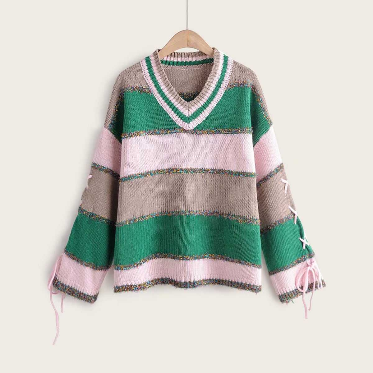 Colorblock Lace-up Sleeve V Neck Sweater in Multicolor by ROMWE on GOOFASH