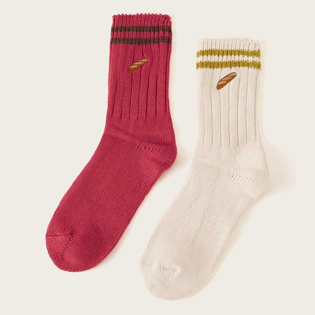 Colorblock Socks 2pairs in Multicolor by ROMWE on GOOFASH