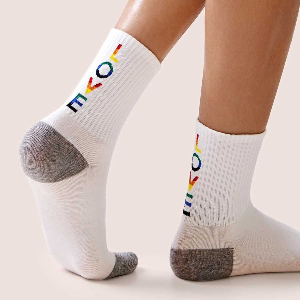Colorful Letter Pattern Socks 1pair in White by ROMWE on GOOFASH