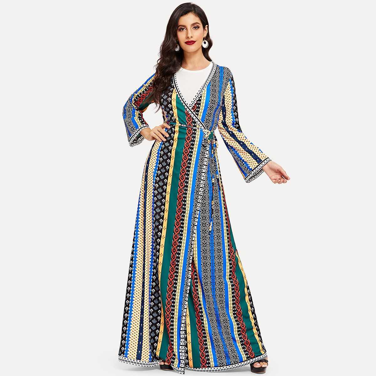 Colorful Striped Belted Wrap Longline Abaya - Shein - GOOFASH