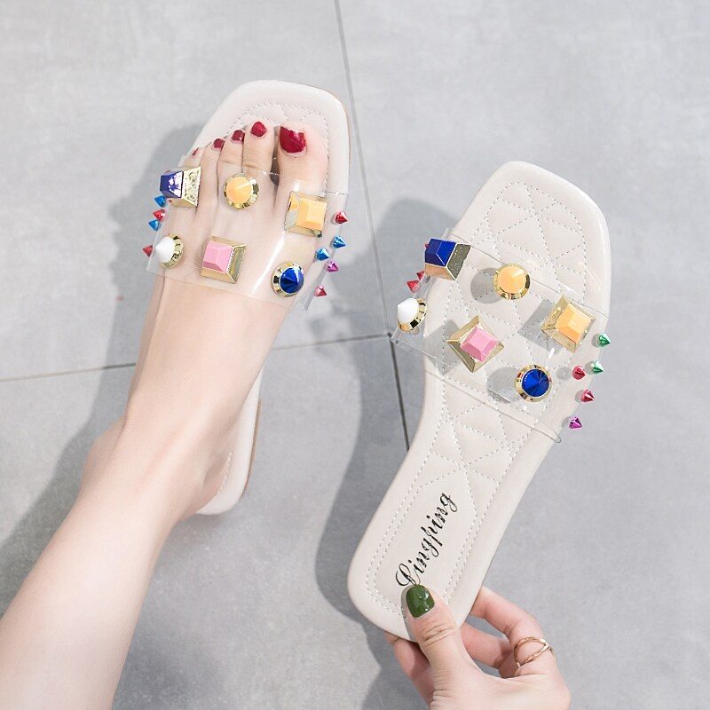 Colorful Studded Decor Flat Sliders in Multicolor by ROMWE on GOOFASH