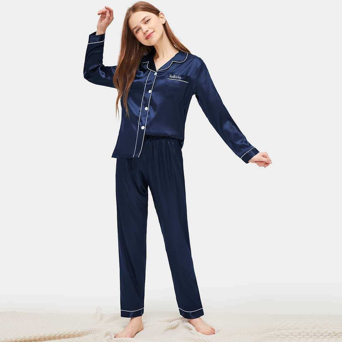 Contrast Binding Button-up Satin Pajama Set in Navy by ROMWE on GOOFASH