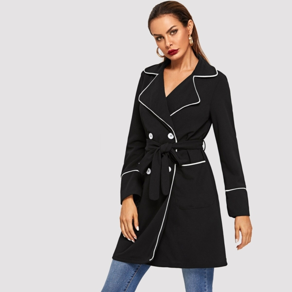Contrast Binding Double Breasted Belted Coat - Shein - GOOFASH