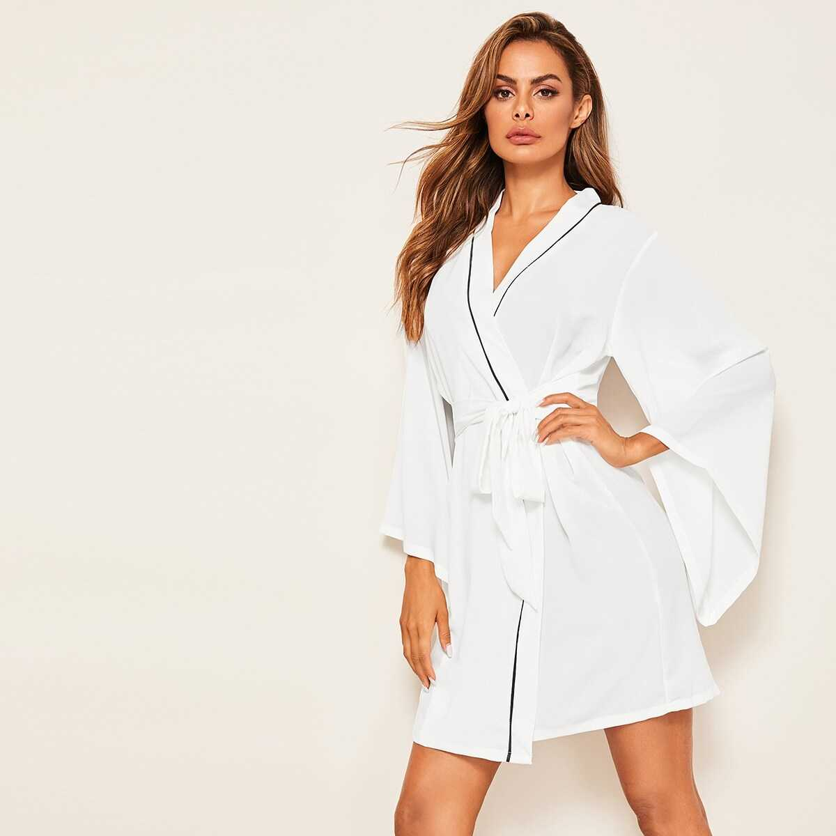 Contrast Binding Self Belted Robe - Shein - GOOFASH