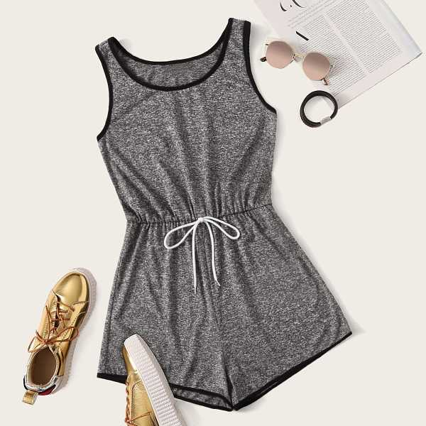 Contrast Binding Tie Waist Marled Tank Playsuit in Grey by ROMWE on GOOFASH