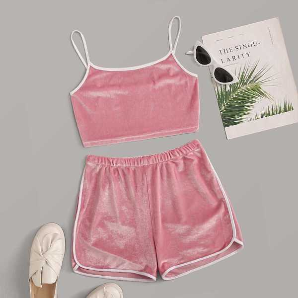 Contrast Binding Velvet Cami Top & Track Shorts in Pink by ROMWE on GOOFASH