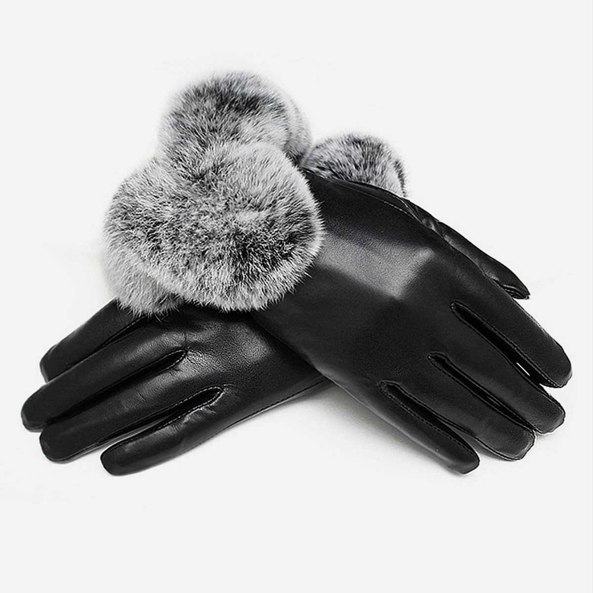 Contrast Faux Fur Gloves in Black by ROMWE on GOOFASH