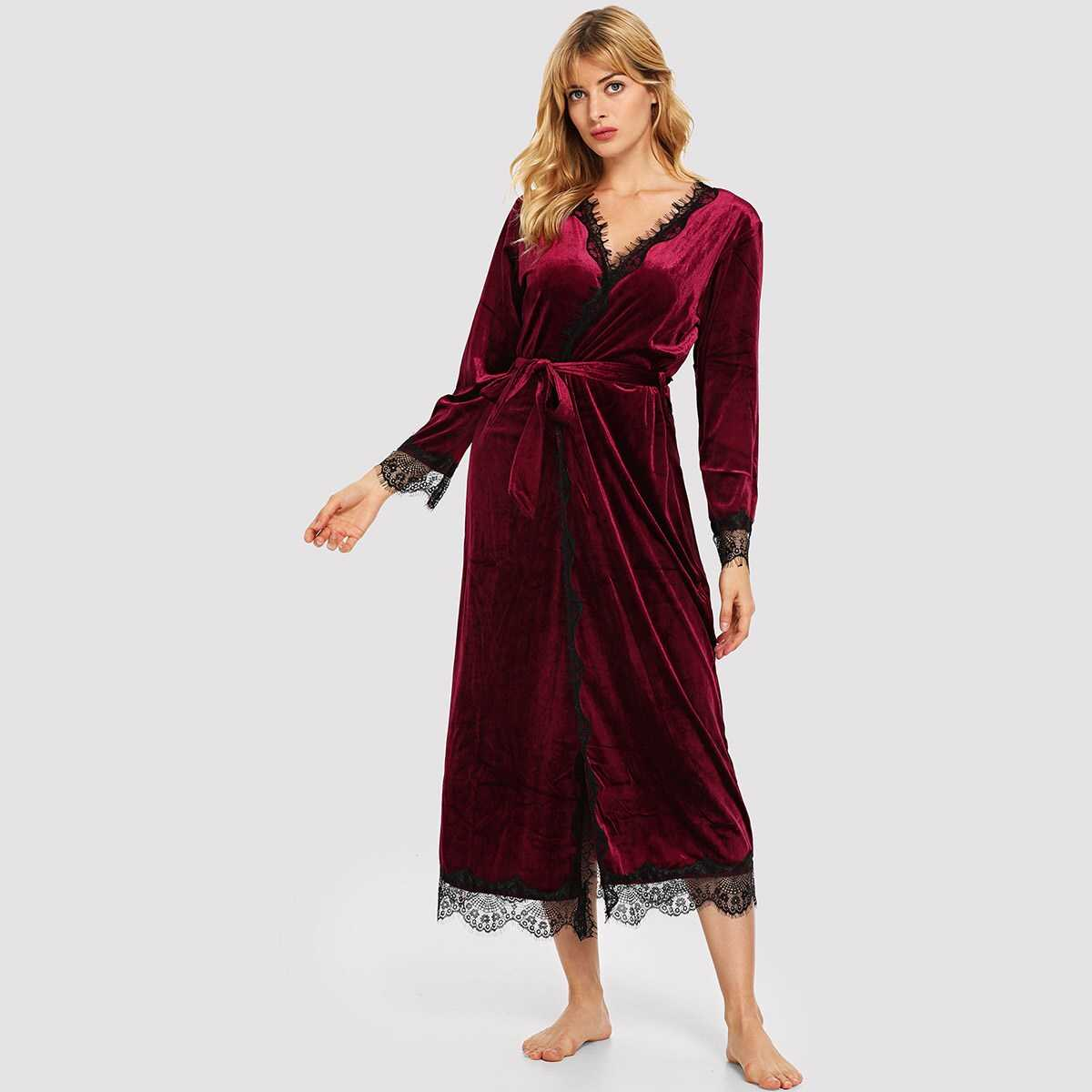 Contrast Lace Self Belted Velvet Robe - Shein - GOOFASH