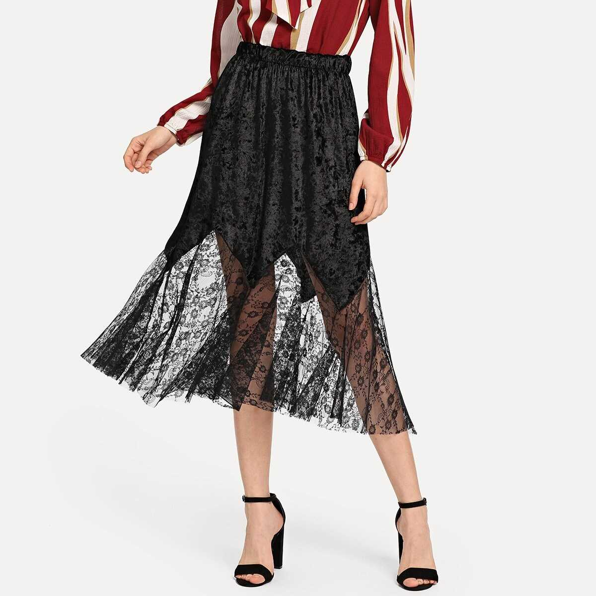 Contrast Lace Solid Velvet Skirts - Shein - GOOFASH