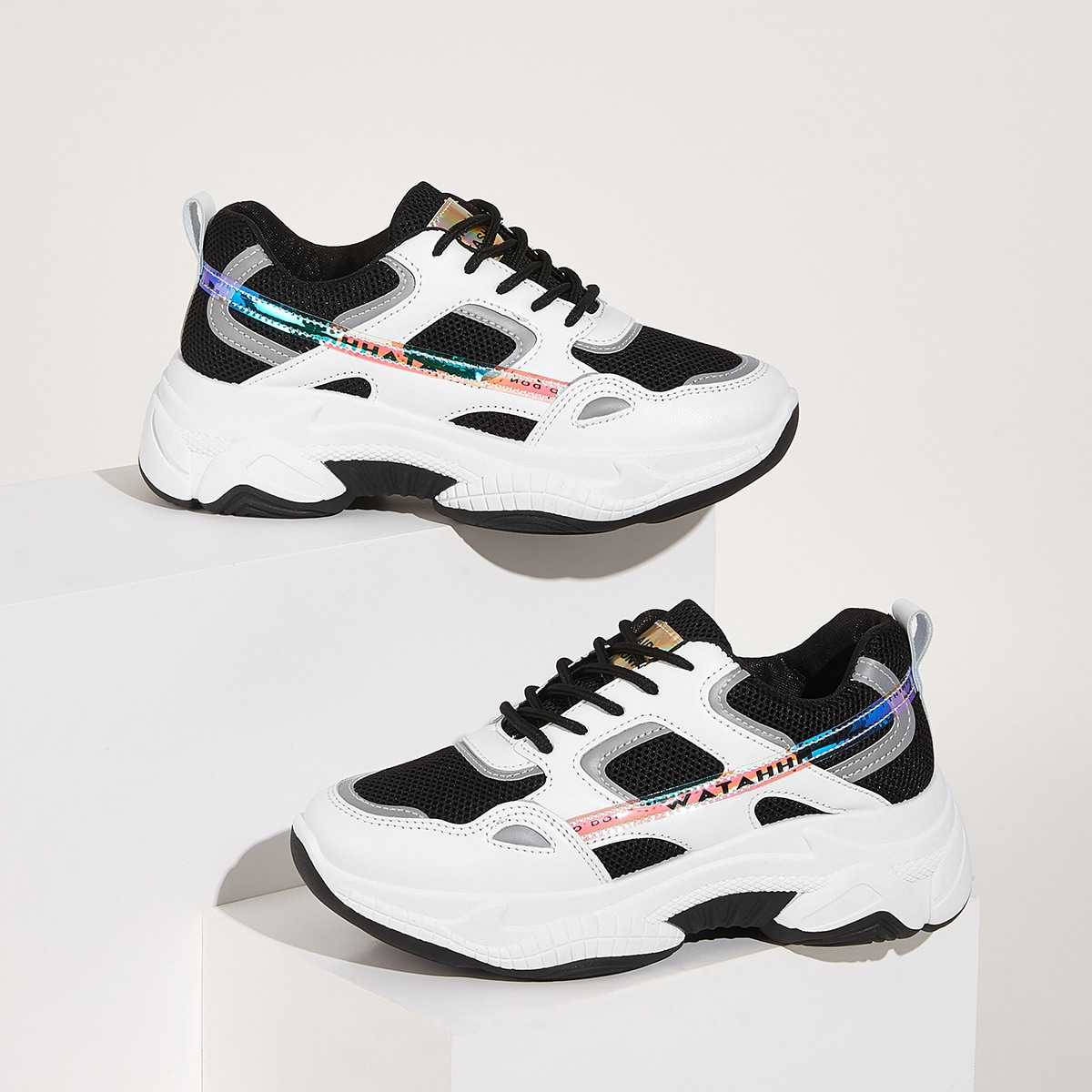 Contrast Lace-up Front Chunky Sole Trainers in Black and White by ROMWE on GOOFASH