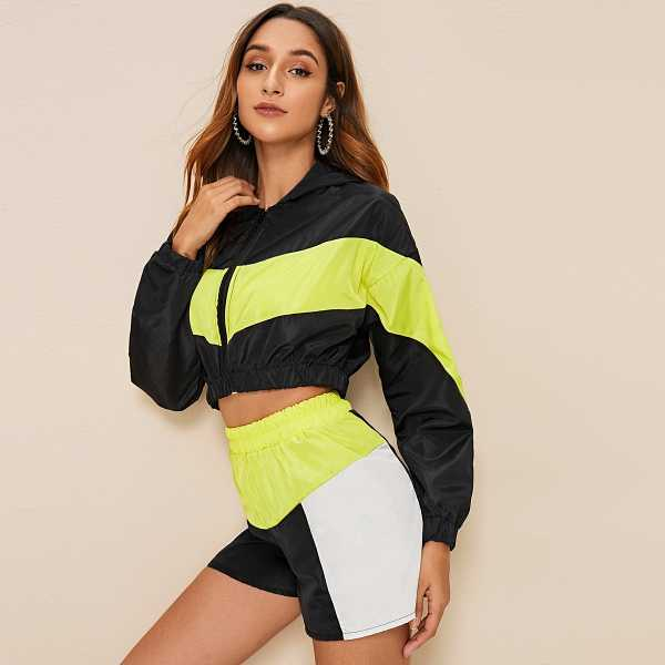 Contrast Neon Yellow Zip Up Hooded Jacket & Shorts in Multicolor by ROMWE on GOOFASH