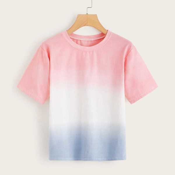 Contrast Ombre Tee in Multicolor by ROMWE on GOOFASH