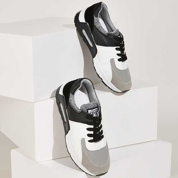 Contrast Panel Lace Up PU Trainers in Multicolor by ROMWE on GOOFASH
