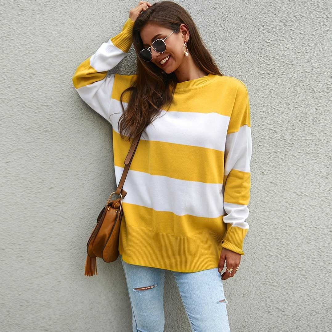 Contrast Panel Rib-knit Trim Sweater in Yellow by ROMWE on GOOFASH