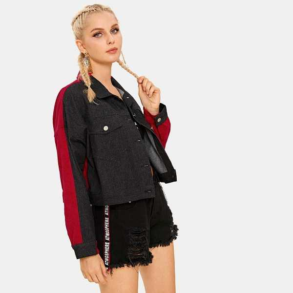 Contrast Panel Single-breasted Denim Jacket in Multicolor by ROMWE on GOOFASH